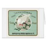 White Bird Vintage Japanese Silk Label Greeting Cards