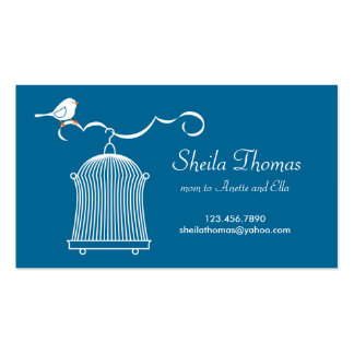 White Birdcage and Bird on Blue Background Double-Sided Standard Business Cards (Pack Of 100)