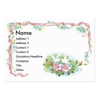 White Birds, cinta rosada y rosas salvajes Plantilla De Tarjeta De Negocio