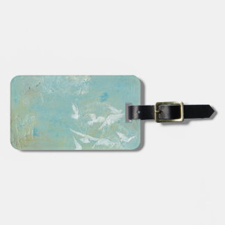 White Birds Flying Through Blue Sky Tag For Luggage