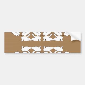 White Birds_Funny_love birds_gold_cute_design Bumper Sticker