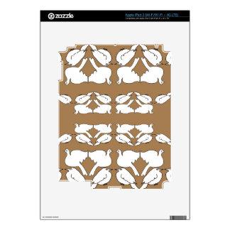 White Birds_Funny_love birds_gold_cute_design iPad 3 Decals