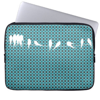 White birds on blue polka dot pattern laptop sleeve
