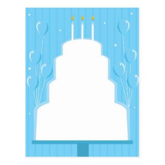 White birthday cake on blue postcard