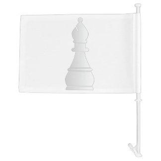 White bishop chess piece car flag