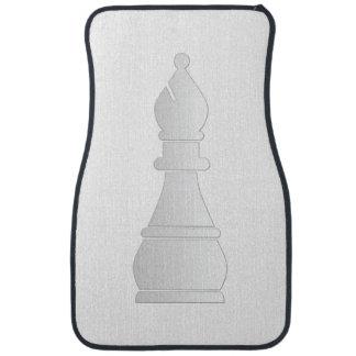 White bishop chess piece car mat