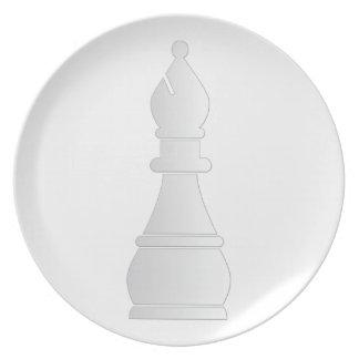 White bishop chess piece melamine plate