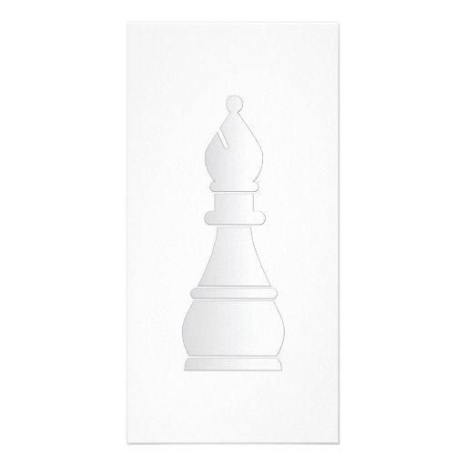 White bishop chess piece photo card template