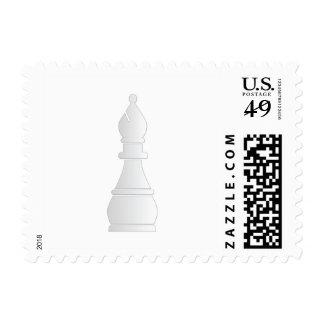 White bishop chess piece postage stamp