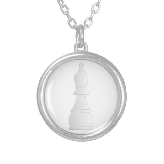White bishop chess piece silver plated necklace
