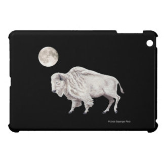 White Bison Full White Moon on Black Cover For The iPad Mini