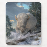White Bison Mouse Pad