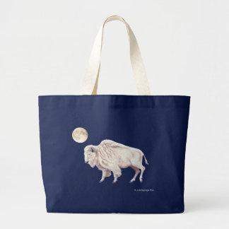 White Bison White Full Moon Large Tote Bag