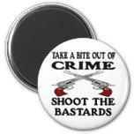 White Bite Out Crime Bastards 2 Inch Round Magnet
