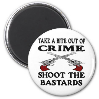 White Bite Out Crime Bastards 2 Inch Round Magnet