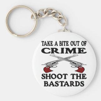 White Bite Out Crime Bastards Keychain