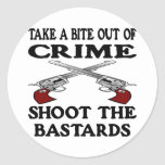 White Bite Out Crime Bastards Round Stickers