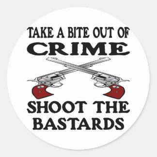 White Bite Out Crime Bastards Round Stickers