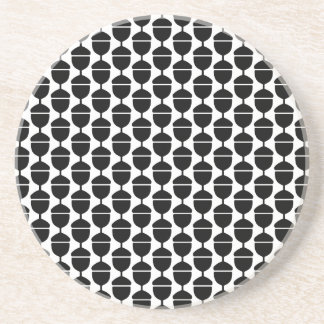 WHITE BLACK ACORN  FLORAL PATTERN CLASSIC COUNTRY DRINK COASTER