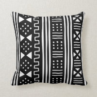 White | Black African MudCloth Inspired Throw Pillow