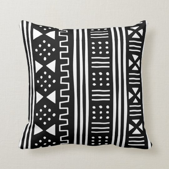 White Black African Mudcloth Inspired Throw Pillow