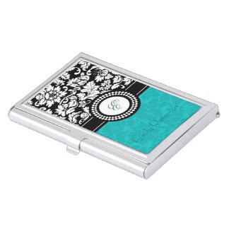 White, Black And Blue-GreenFloral Damasks Monogram Case For Business Cards