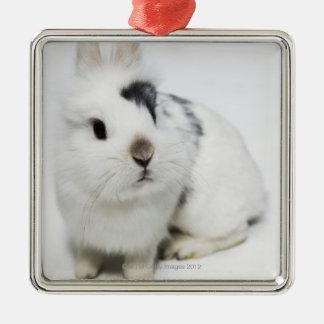 White, black and brown rabbit metal ornament