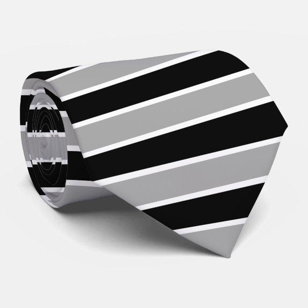 white black and gray horizontal striped tie zazzle