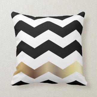 White, Black and Gold Chevron Pattern Throw Pillow