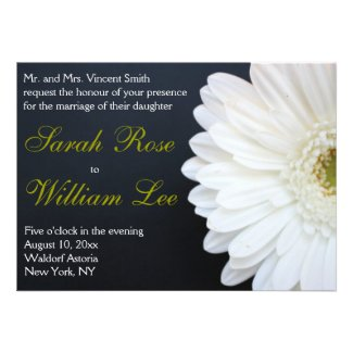 White, Black, and Gold Daisy Wedding Invitation