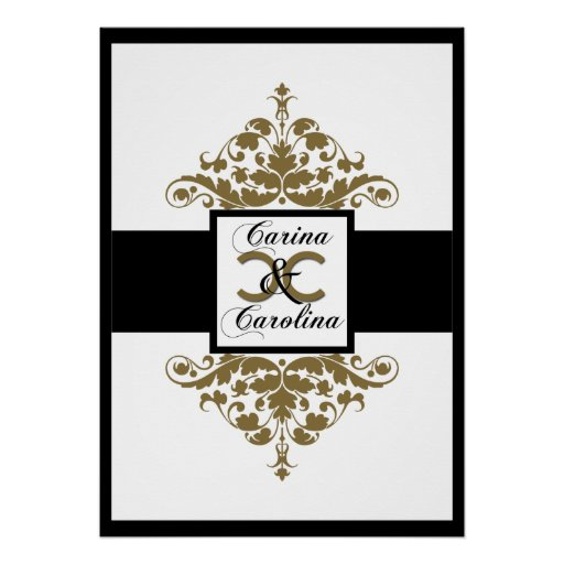 White Black and Gold Damask Sweet 16 Poster