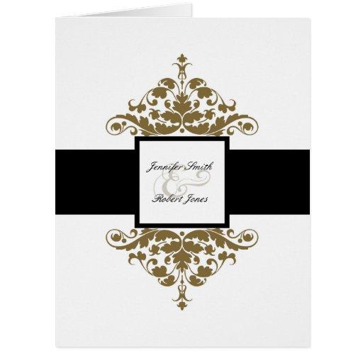 Golden Wedding Gift Experiences : White Black and Gold Damask Wedding Invitation Zazzle