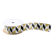 White, Black and Golden Chevron Pattern Satin Ribbon