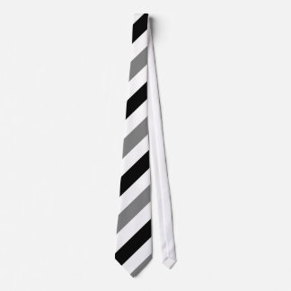 White Black and Gray Diagonally-Striped Tie