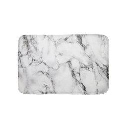 White Black And Gray Grain Marble Stone Bath Mat