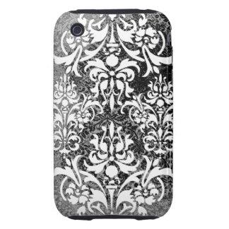 White Black and Gray Grunge Vintage Damask iPhone 3 Tough Case