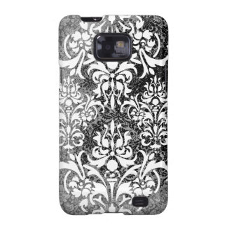 White Black and Gray Grunge Vintage Damask Galaxy S2 Cases