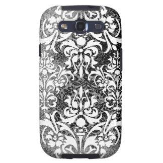 White Black and Gray Grunge Vintage Damask Galaxy S3 Case