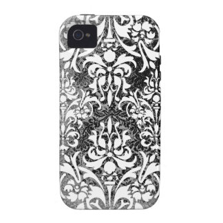 White Black and Gray Grunge Vintage Damask Vibe iPhone 4 Covers