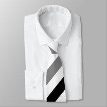 White Black and Gray Regimental Stripe Tie