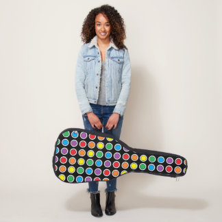 White, Black and Rainbow Polka Dots Guitar Case
