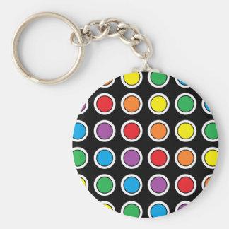 White, Black and Rainbow Polka Dots Keychain