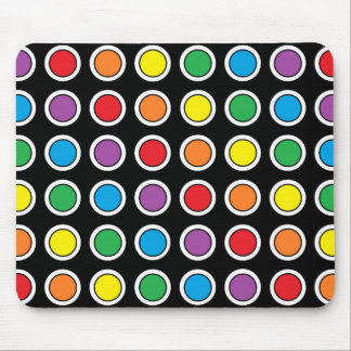 White, Black and Rainbow Polka Dots Mouse Pad