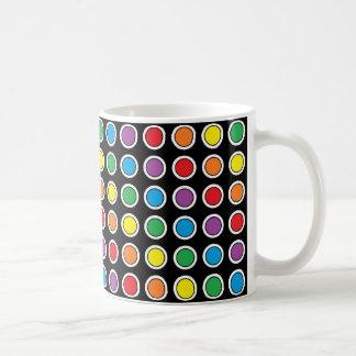 White, Black and Rainbow Polka Dots Mug