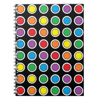 White, Black and Rainbow Polka Dots Notebook