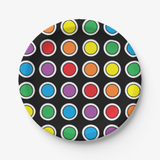 White, Black and Rainbow Polka Dots Paper Plates