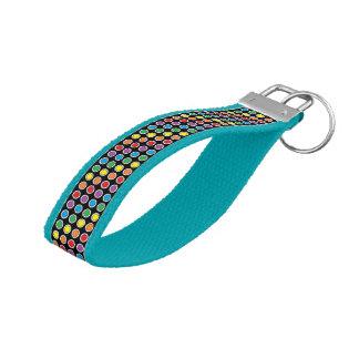White, Black and Rainbow Polka Dots Wrist Keychain