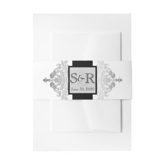 White Black and Silver Damask Wedding Belly Band