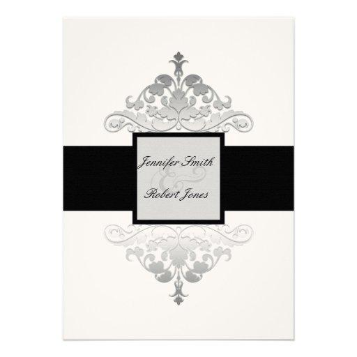 "Silver And White Wedding Invitations: White Black And Silver Damask Wedding Invitation 5"" X 7"