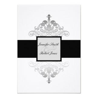 "White Black and Silver Damask Wedding Invitation 5"" X 7"" Invitation Card"